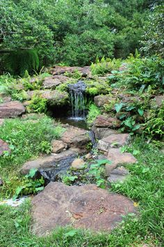 Water features can be small like this pondless waterfall