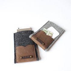 .iPhone Case with Leather Pouch. Would be a good craft for Christmas stocking stuffers.