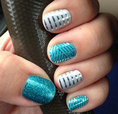 Teal Sparkle, Gray and Silver Horizontal Pinstripes (blue crisscross has been retired)