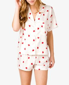 This Heart Print PJ set makes for a laid back sexy stay-in Valentine's day look. Pajama Day, Pajamas All Day, Cute Pjs, Cute Pajamas, Forever 21 Pajamas, Night Suit, Night Gown, Sleepwear & Loungewear, Bathing Suits