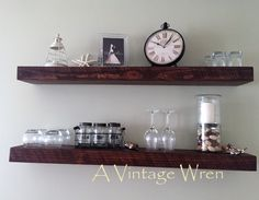 """A pair of floating shelves, stained in a match to """"English Chestnut"""". These pieces were made in conjunction with a farm table with two Company Board Extensions,sideboard buffet, and matching bench. https://www.facebook.com/AVintageWren"""