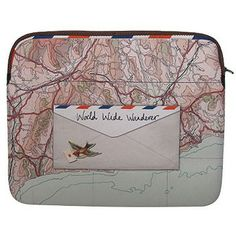 This stunning vintage Paper Plane Map Laptop Sleeve by Disaster Designs depicts travel memories with vintage styling. Neoprene Laptop Sleeve, Laptop Sleeves, Map Design, Branding Design, Disaster Designs, Laptop Covers, Travel Memories, Vintage Paper, Travel Accessories
