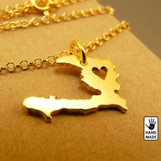 HAITI tiny  24 k Gold plated pure silver .999  pendant , sterling  silver chain, custom heart