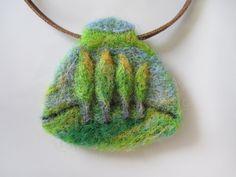 Felt Pendant, Wearable Art, Needle Felted Pendant, Four Trees Landscape. $13.00, via Etsy.