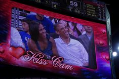 US President Barack Obama and his wife, US First Lady Michelle Obama, are seen on a large screen during the Men's USA Basketball vs Brazil game at the Verizon Center in Washington, DC, July 16, 2012. (JIM WATSON/AFP/GettyImages)  via @AOL_Lifestyle Read more: https://www.aol.com/article/entertainment/2017/02/10/michelle-obama-to-be-guest-judge-on-gordon-ramsays-masterchef/21711667/?a_dgi=aolshare_pinterest#fullscreen