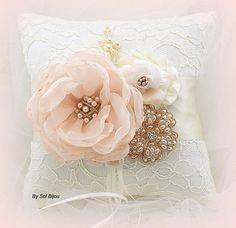 Ring Bearer Pillow Wedding Bridal Ivory Gold Blush by SolBijou