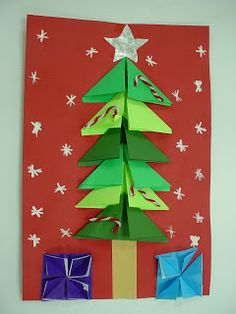 Art educators can view the art projects students created in the elementary art program. Origami Tree, Origami Christmas Tree, Christmas Art, Christmas Projects, Childrens Christmas Crafts, Holiday Crafts For Kids, Holiday Themes, Origami Rabbit Instructions, Christmas Party Activities