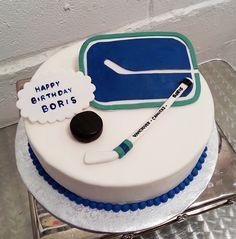 vancouver canucks hockey cake Hockey Birthday Parties, 9th Birthday Cake, Third Birthday, Birthday Ideas, Hockey Cakes, Canada Hockey, Good Food, Yummy Food, Vancouver Canucks