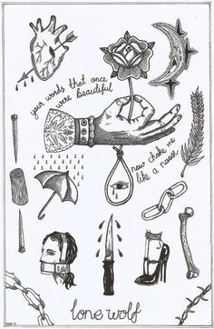 'your words choke me like a noose' tattoo flash sheet. by TristanRitterArt on Easy. I like the knife, chains and the bone. Also to have the words choke me tattooed on my body would be cool Flash Art Tattoos, Tattoo Flash Sheet, Black Tattoos, Small Tattoos, Cool Tattoos, Tatoos, Traditional Flash, Traditional Tattoo, American Traditional