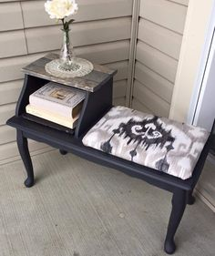 """A cute little telephone table (or """"gossip bench"""" as they used to call it!). Painted in Charcoal, and sealed with clear wax. The seat has been reupholstered to match the Charcoal paint, as well as the grey stain used for the tabletop ~The Decor Vault~ www.facebook.com/thedecorvault"""