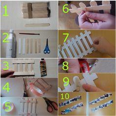BALLA CON FOTOS 1. Comprar/Reciclar palos de helado (o los palos de madera que utilizan los médicos). 2. Cortar los extremos de 6 palos como se indica en la imagen y pintarlos de blanco por una cara. 3. Pegar entre si los 6 palos cortados como se indica en la imagen. 4-5-6. Poner cinta adhesiva gruesa de doble cara por la parte de atrás. 7. Pegar la balla a la superficie donde la queramos colocar. 8-9. Pegar pinzas de madera a la balla (perpendiculares al suelo). 10. Colgar las fotos.