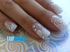 Acrylic Nails French For Brides by @topnailschile via @nailartgallery #nailartgallery #nailart #nails #acrylic #gel #bridal #polish #swarovski #rose #artnail