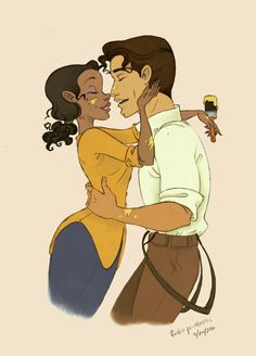 Princess Tiana and Prince Naveen from Disney's The Princess and the Frog ~ Aww. <3