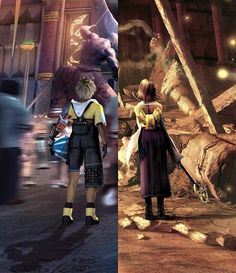 Final Fantasy X. Tidus and Yuna in Zanarkand in their own times.