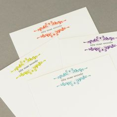 Custom Flourish Recycled Notecards in Girlie by TwoPoodlePress, $12.95