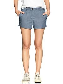 Sunkissed railroad-stripe chambray shorts