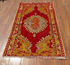 "Red Vintage Rug 34"" x 58"" Anatolian Wool Rectangle Kilim, Turkish Rug, Area Rug #Traditional"