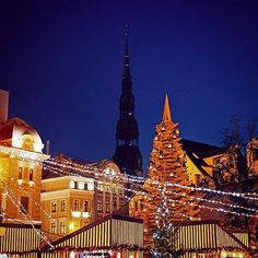 A beautiful view of Riga in the evening.