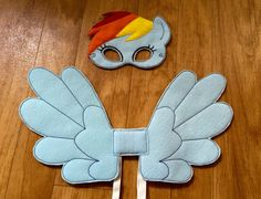 Rainbow Pony Mask and Wings Set Costume Cosplay Dress Up