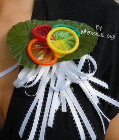Condom Corsage - Bridal, Bachelorette, or Divorce Parties. $12.95, via Etsy.