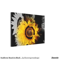 Sunflower Bunch in Black and White Wrapped Canvas. Affiliate link.