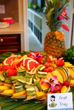 Beautiful fruit tray at a Hawaiian Luau Birthday Party!  See more party ideas at CatchMyParty.com!  #partyideas #hawaiian