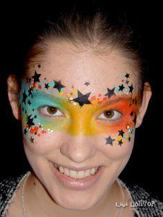Stars Mask - Famous Last Words Girl Face Painting, Face Painting Tips, Mask Painting, Face Painting Designs, Body Painting, Alien Face Paint, Mask Face Paint, Rock Star Party, Kids Makeup