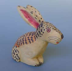 "Vintage Mexican Oaxacan wood carving rabbit attrib to MANUEL JIMENEZ 8"" long"