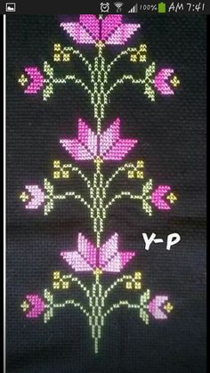 This Pin was discovered by Hüs Cross Stitch Art, Cross Stitch Flowers, Cross Stitch Designs, Cross Stitching, Cross Stitch Patterns, Crochet Chart, Crochet Patterns, Border Embroidery Designs, Hand Embroidery Videos