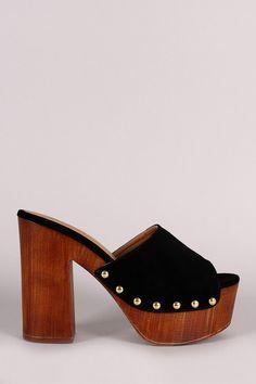 Qupid Nubuck Studded Chunky Faux Wooden Platform Heel | Platform ...