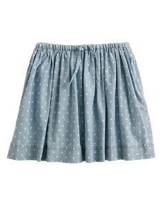 Girls' Chambray Skirt in Polka Dot
