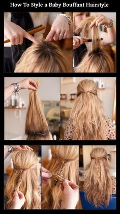 New Short Hair Styles: How To Style a Baby Bouffant Hairstyle Love Hair, Great Hair, Pretty Hairstyles, Cute Hairstyles, Braid Hairstyles, Style Hairstyle, Easy Hairstyle, Bouffant Hair, Different Hairstyles