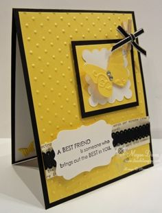 bright yellow, emb with swiss dots. white for accents is very effective... eye-catching!