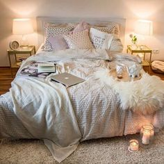 That's a bed I want to sleep in/cuddle in/write in/nap in/make babies in/watch movies in/sip coffee in. That's a bed I want to sleep in/cuddle in/write in/nap in/make babies in/watch movies in/sip coffee in. Dream Rooms, Dream Bedroom, Master Bedroom, Bedroom Small, Bedroom Bed, Teen Bedroom, Bed Room, Bedroom Apartment, Apartment Living