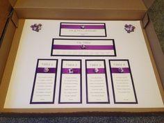 Purple table plan with tea rose and diamanté detail