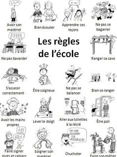les règles de l'école- great for school vocabulary & discussing differences… French Teaching Resources, Teaching French, French Flashcards, French Education, Languages Online, French Classroom, French Teacher, French Immersion, French School