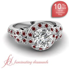 Round Diamonds and Red Ruby 14K White Gold Halo Engagement Ring in Pave Setting || Duet Floral Ring