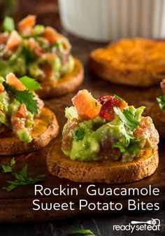 Roasted sweet potatoes seasoned and topped with zesty guacamole and bacon is the perfect appetizer to watch the big game with great company!
