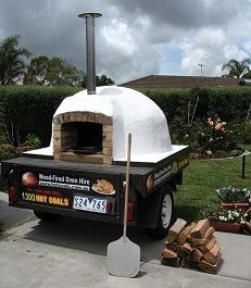 Mobile, Trailer-Mounted Wood-Fired Pizza Oven