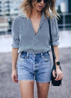 casual stripped shirt and denim cut offs. Love it