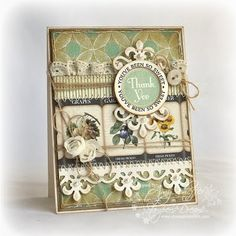 Card using Fleur de Lis Doily Accents Shapeabilities die cut set and a scrap of a seed packet pattern