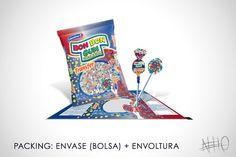 Packing: Envase (bolsa) + envoltura para Bon Bon Gum de Colombina. Diseñador Gráfico: Neto González.