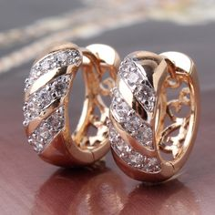 Goods.Site - Engagement Jewelry 18K Gold Platinum Plated Three Rows Crystals Swiss Zircon Hoop Earrings Fashion E161c