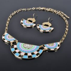 Enamel Spring Color Gold Plated Necklace Set Jewelry Stores