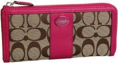 Coach Legacy Signature Logo Slim Zip Wallet Khaki Fuchsia Pink New Coach. $136.99