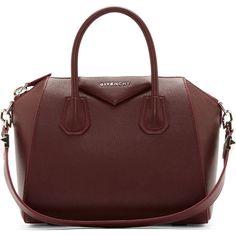 Givenchy Oxblood Sugar Leather Small Antigona Bag (40.711.650 VND) ❤ liked on Polyvore featuring bags, handbags, purses, givenchy, bolsos, bolsas, genuine leather handbags, givenchy handbags, red purse and man bag
