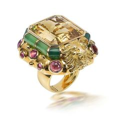A citrine, tourmaline and chrysophrase ring, by Marchak