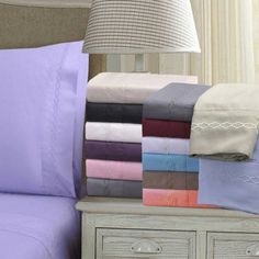 Superior Light Weight and Super Soft Brushed Microfiber, Wrinkle Resistant Sheet Set with Cloud Embroidery, Purple