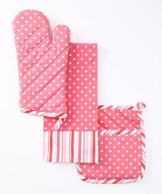 Pink Polka Dot & Stripe Pot Holder Set by Design Imports