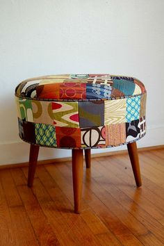 Patchwork Foot Stool/Ottoman Vintage Mid Century by ljindustries